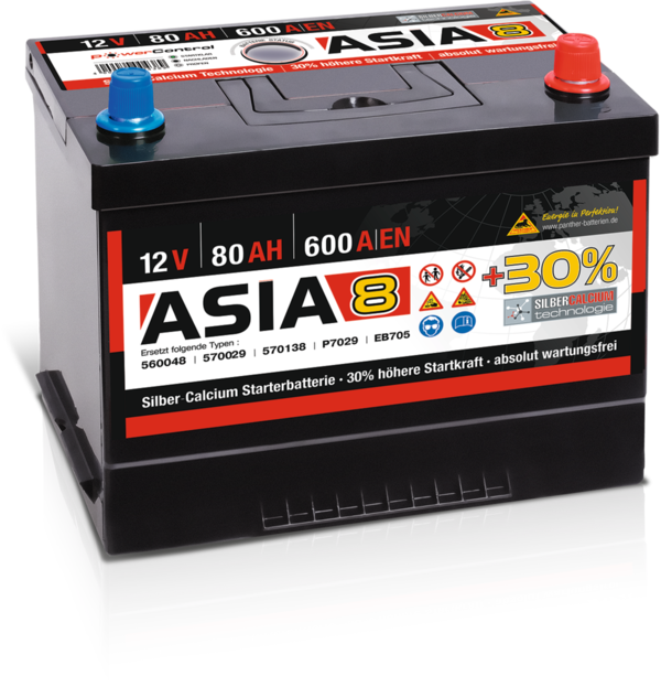 Starterbatterie Panther Asia08   80Ah